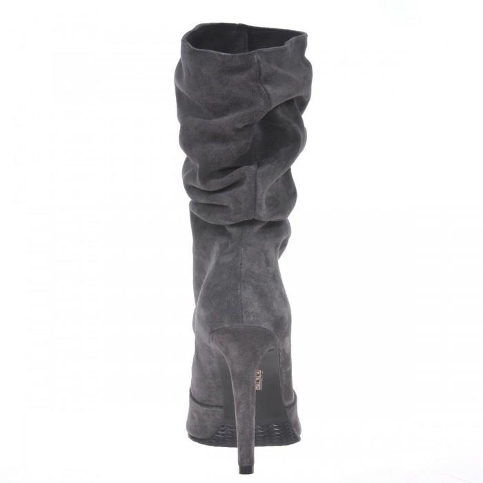Botine Stiletto Gri Inchis din Piele Naturala Intoarsa - Cod B228