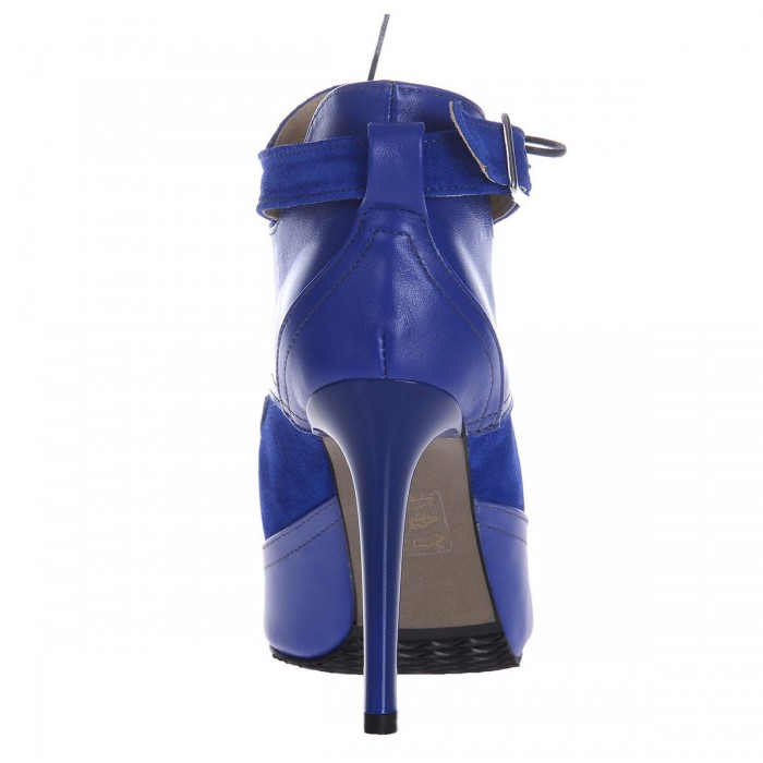 Botine Stiletto Piele Naturala Albastru Electric - Cod B257