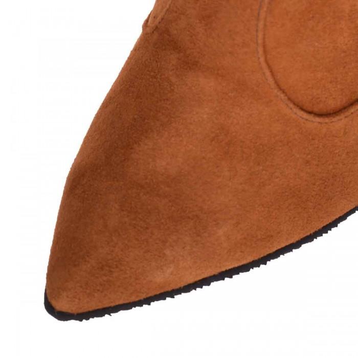 Botine Stiletto Piele Naturala Intoarsa Maro - Cod B350