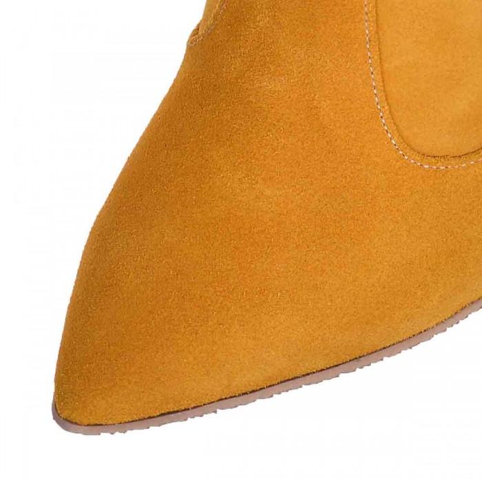 Botine Stiletto Piele Intoarsa Galben Mustar - Cod B327