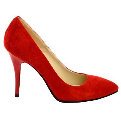 Pantofi Stiletto Piele Naturala Intoarsa Rosie - Cod S142