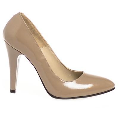 Pantofi Stiletto Piele Naturala Lacuita Cappuccino - Cod S110