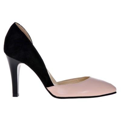 Pantofi Decupati Stiletto Piele Naturala Nude-Negru - Cod S113