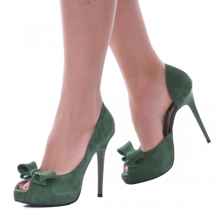 Pantofi cu platforma Piele Naturala Intoarsa Verde - Cod S443