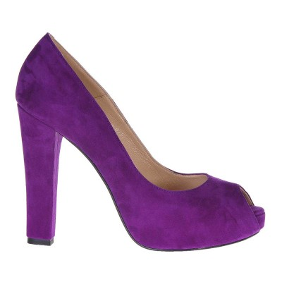Pantofi cu platforma Piele Naturala Intoarsa Mov - Cod S210