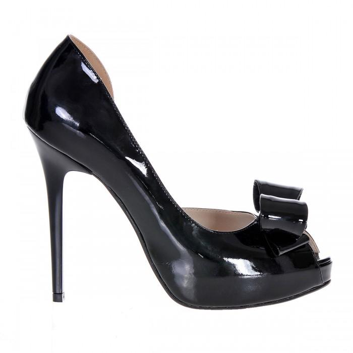 Pantofi cu platforma Piele Naturala Lacuita Neagra - Cod S255