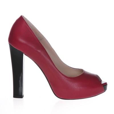Pantofi cu platforma Piele Naturala Marsala - Cod S239
