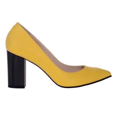 Pantofi Stiletto cu Toc Gros din Piele Naturala Galbena - Cod S517