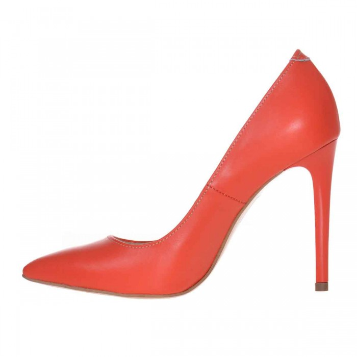 Pantofi Stiletto Piele Naturala Portocalie - Cod S601