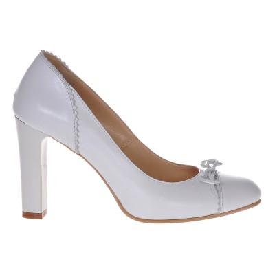 Pantofi de Mireasa Piele Naturala Alb Sidefat - Cod S311
