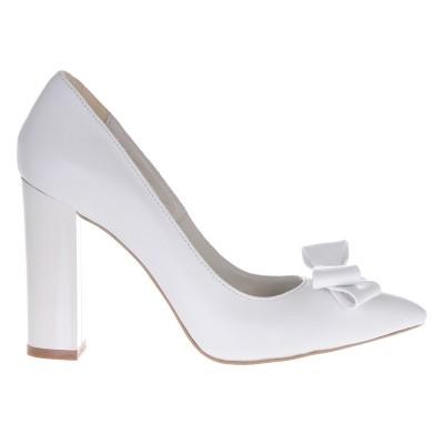 Pantofi Stiletto Cu Toc Gros Piele Naturala Alba- Cod S321