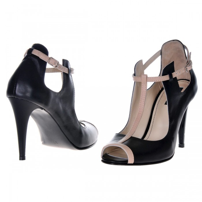 Pantofi Dama din Piele Naturala Neagra - Bej - Cod S351