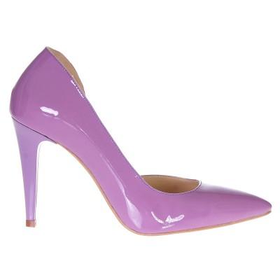 Pantofi Decupati Stiletto Piele Naturala Lacuita Mov Lila - Cod S191