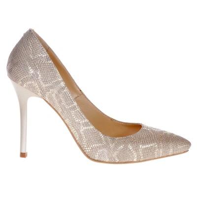Pantofi Stiletto din Piele Naturala Imprimeu Sarpe Auriu- Cod S337