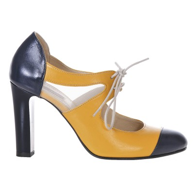 Pantofi Office Piele Naturala Bleumarin - Galben - Cod S192