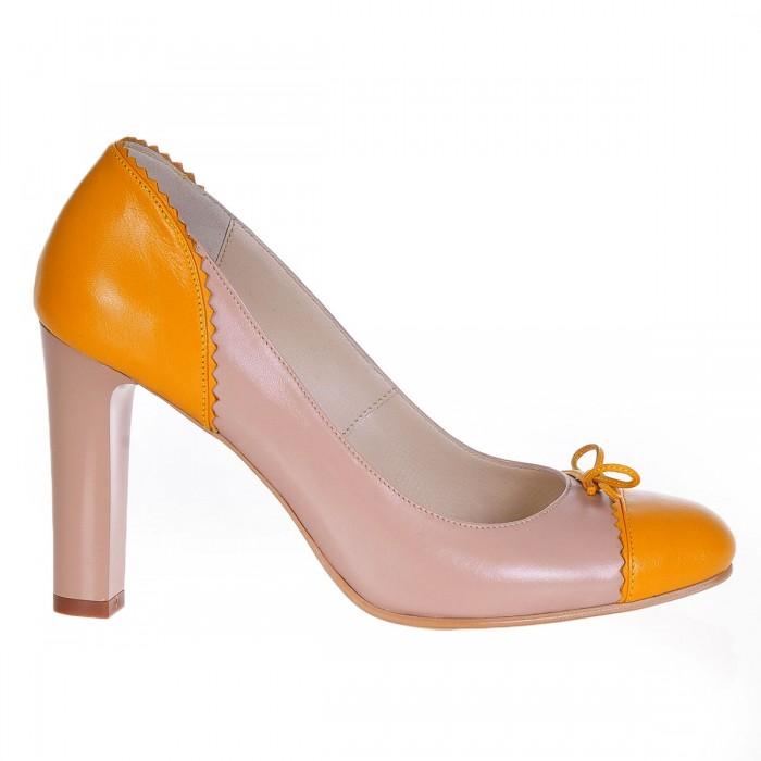 Pantofi Office Piele Naturala Bej - Mango - Cod S232