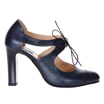 Pantofi Office Piele Naturala Bleumarin - Cod S306