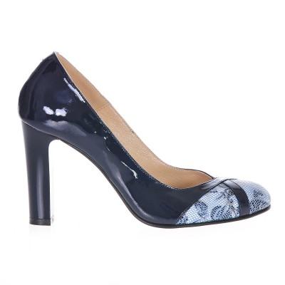 Pantofi Office Piele Naturala Bleumarin - Imprimeu - Cod S183