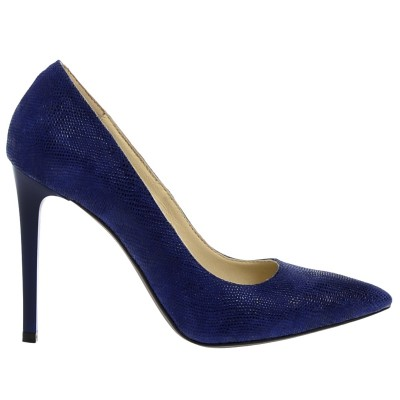Pantofi Stiletto din Piele Naturala Albastra - Cod S336