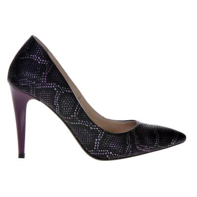 Pantofi Stiletto Piele Naturala Imprimeu Sarpe Mov - Cod S305