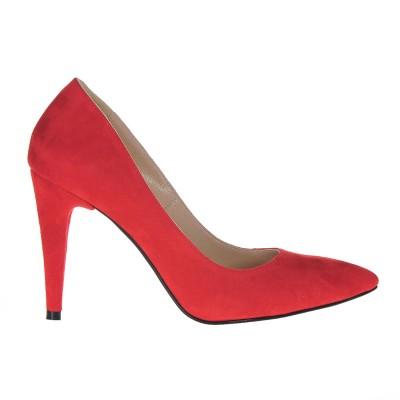 Pantofi Stiletto Piele Naturala Intoarsa Rosie - Cod S256