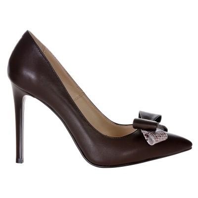 Pantofi Stiletto Piele Naturala Maro- Cod S307
