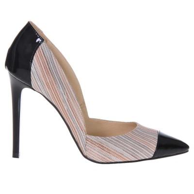 Pantofi Stiletto Piele Naturala Lacuita Neagra - Imprimeu - Cod S218