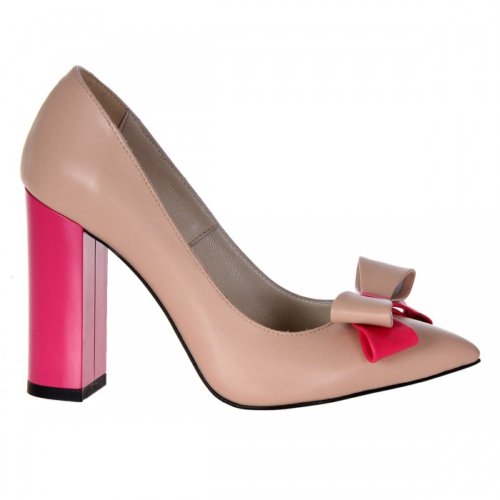 Pantofi Stiletto Cu Toc Gros Piele Naturala Bej-Roz- Cod S367