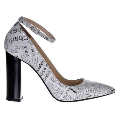Pantofi Stiletto Toc Gros Piele Naturala Imprimeu Ziar- Cod S322
