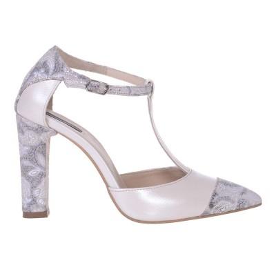 Pantofi Stiletto Piele Naturala Ivory si Imprimeu - Cod S518