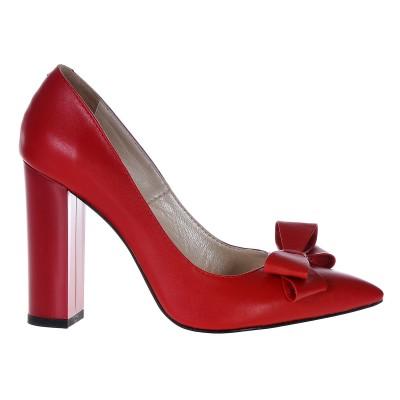 Pantofi Stiletto Cu Toc Gros Piele Naturala Rosie- Cod S360