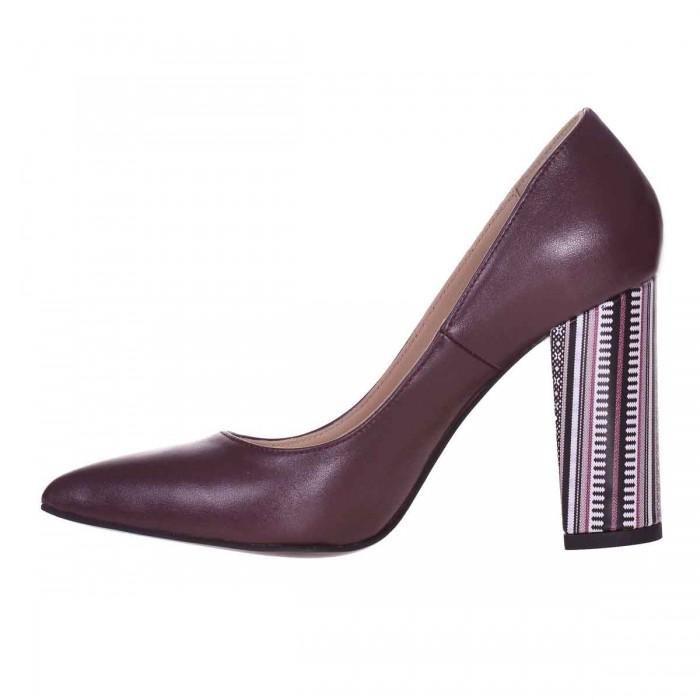Pantofi Stiletto din Piele Naturala Bordo si Imprimeu - Cod S604