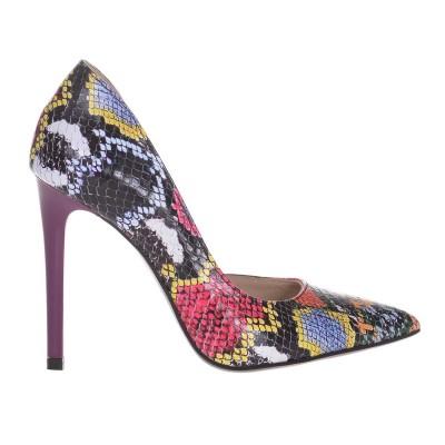 Pantofi Stiletto Decupati Piele Naturala Imprimeu Colorat - Cod S634