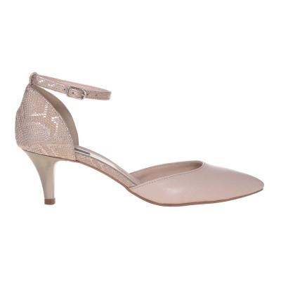 Pantofi Stiletto Decupati Piele Naturala Nude si Imprimeu - Cod S595
