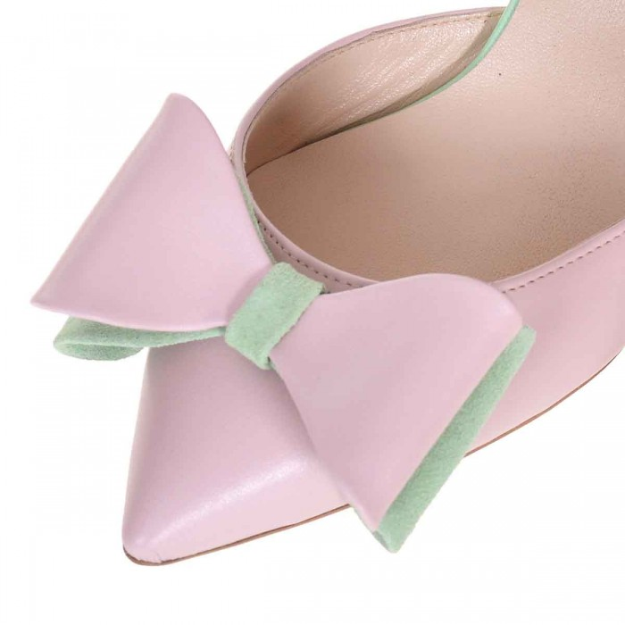 Pantofi Stiletto Decupati Piele Naturala Roz si Verde - Cod S597