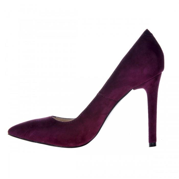 Pantofi Stiletto din Piele Naturala Intoarsa Mov Inchis- Cod S346