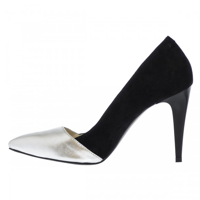 Pantofi Stiletto din Piele Naturala Neagra - Argintie- Cod S335