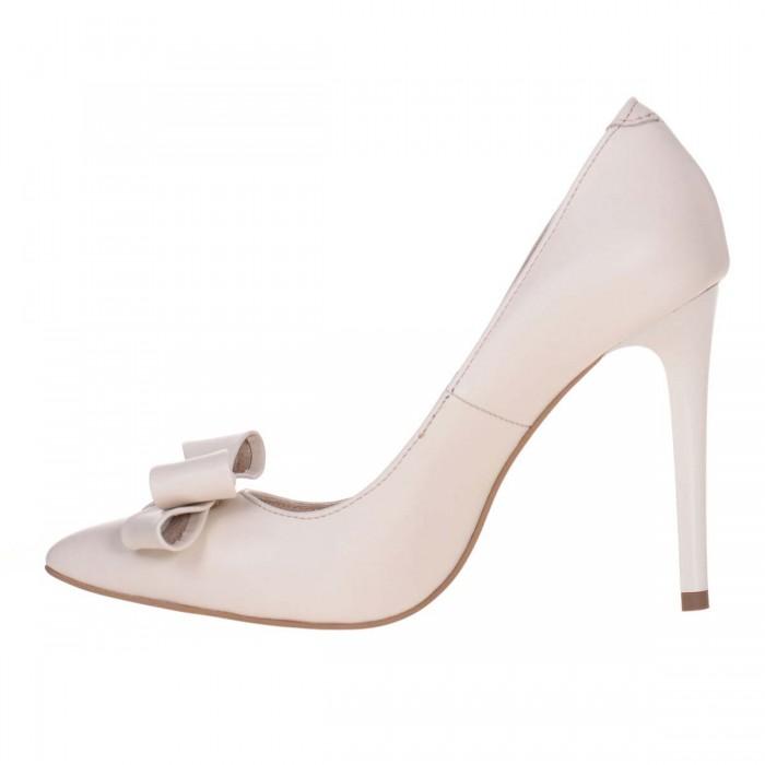 Pantofi Stiletto Piele Naturala Alb - Bej - Cod S608