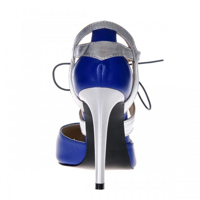 Pantofi Stiletto din Piele Naturala Albastru Electric - Argintiu- Cod S343