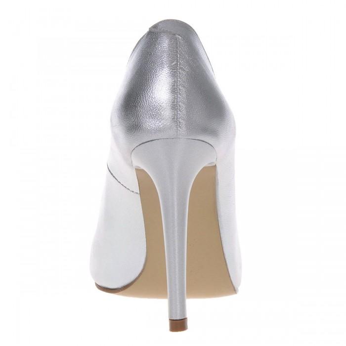 Pantofi Dama Stiletto din Piele Naturala Argintie- Cod S373