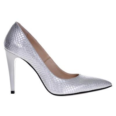 Pantofi Stiletto din Piele Naturala Argintie cu Imprimeu Sarpe- Cod S406