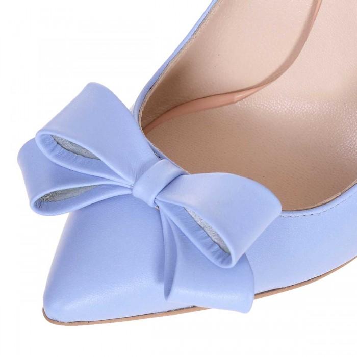 Pantofi Stiletto Piele Naturala Bleu - Cod S607