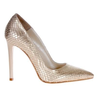 Pantofi Stiletto din Piele Naturala cu Imprimeu Sarpe Auriu- Cod S362
