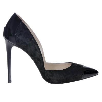Pantofi Stiletto din Piele Naturala Neagra Imprimeu Floral - Cod S315