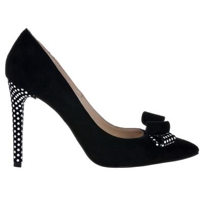 Pantofi Stiletto din Piele Naturala Intoarsa Neagra cu Buline- Cod S369
