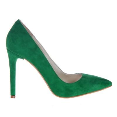 Pantofi Stiletto din Piele Naturala Intoarsa Verde- Cod S347