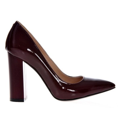 Pantofi Stiletto Cu Toc Gros Piele Naturala Lacuita Grena- Cod S372