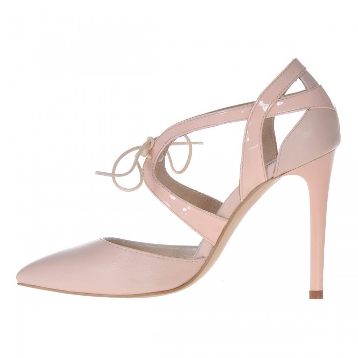 Pantofi Stiletto din Piele Naturala Nude - Cod S323