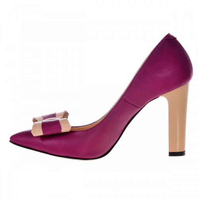 Pantofi Dama Stiletto din Piele Naturala Mov - Cod S370