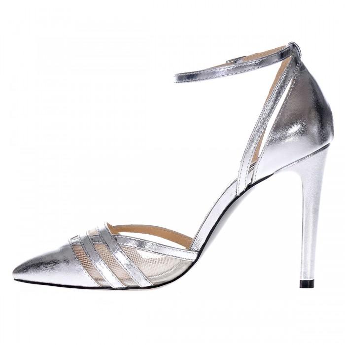 Pantofi Stiletto Eleganti din Piele Naturala Argintie- Cod S313